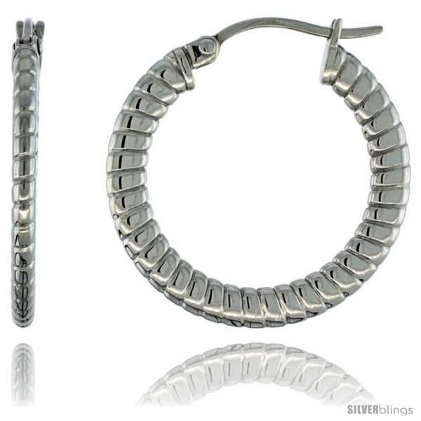 https://www.silverblings.com/1886-thickbox_default/surgical-steel-1-in-hoop-earrings-spiral-embossed-pattern-4-mm-flat-tube-feather-weigh.jpg