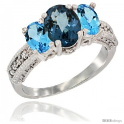 14k White Gold Ladies Oval Natural London Blue Topaz 3-Stone Ring with Swiss Blue Topaz Sides Diamond Accent