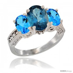 14K White Gold Ladies 3-Stone Oval Natural London Blue Topaz Ring with Swiss Blue Topaz Ring Sides Diamond Accent