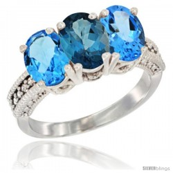 14K White Gold Natural London Blue Topaz & Swiss Blue Topaz Sides Ring 3-Stone 7x5 mm Oval Diamond Accent