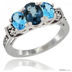 14K White Gold Natural London Blue Topaz & Swiss Blue Topaz Ring 3-Stone Oval with Diamond Accent