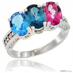 14K White Gold Natural Swiss Blue Topaz, London Blue Topaz & Pink Topaz Ring 3-Stone 7x5 mm Oval Diamond Accent
