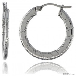 Surgical Steel Flat Tube Hoop Earrings 1 in Round 2 mm Thin Candy Stripe Pattern, feather weight