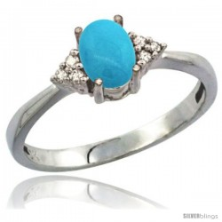 10K White Gold Natural Turquoise Ring Oval 7x5 Stone Diamond Accent