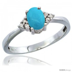 10K White Gold Natural Turquoise Ring Oval 6x4 Stone Diamond Accent