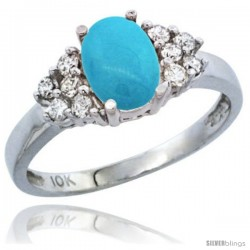 10K White Gold Natural Turquoise Ring Oval 8x6 Stone Diamond Accent