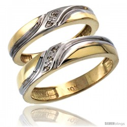 10k Gold 2-Pc His (5mm) & Hers (4mm) Diamond Wedding Ring Band Set w/ 0.032 Carat Brilliant Cut Diamonds