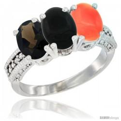 10K White Gold Natural Smoky Topaz, Black Onyx & Coral Ring 3-Stone Oval 7x5 mm Diamond Accent
