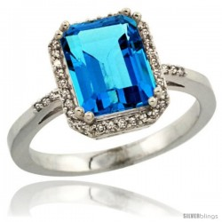 Sterling Silver Diamond Natural Swiss Blue Topaz Ring 2.53 ct Emerald Shape 9x7 mm, 1/2 in wide