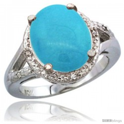 10K White Gold Natural Turquoise Ring Oval 12x10 Stone Diamond Accent
