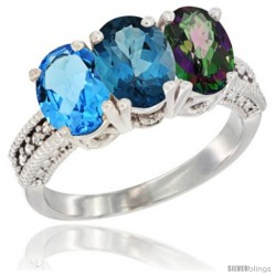 14K White Gold Natural Swiss Blue Topaz, London Blue Topaz & Mystic Topaz Ring 3-Stone 7x5 mm Oval Diamond Accent
