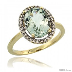 14k Yellow Gold Diamond Halo Green Amethyst Ring 2.4 carat Oval shape 10X8 mm, 1/2 in (12.5mm) wide