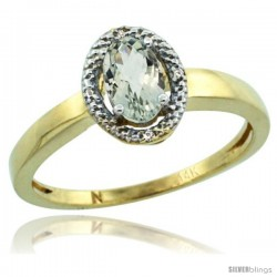 14k Yellow Gold Diamond Halo Green Amethyst Ring 0.75 Carat Oval Shape 6X4 mm, 3/8 in (9mm) wide