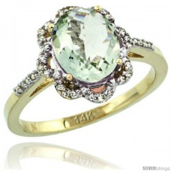 14k Yellow Gold Diamond Halo Green Amethyst Ring 1.65 Carat Oval Shape 9X7 mm, 7/16 in (11mm) wide