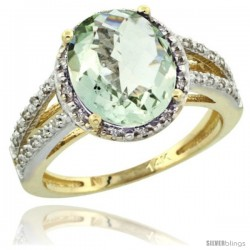 14k Yellow Gold Diamond Halo Green Amethyst Ring 2.85 Carat Oval Shape 11X9 mm, 7/16 in (11mm) wide
