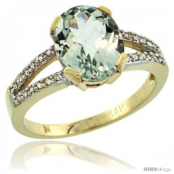 14k Yellow Gold and Diamond Halo Green Amethyst Ring 2.4 carat Oval shape 10X8 mm, 3/8 in (10mm) wide