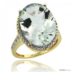 14k Yellow Gold Diamond Green-Amethyst Ring 13.56 Carat Oval Shape 18x13 mm, 3/4 in (20mm) wide