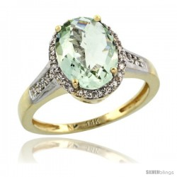 14k Yellow Gold Diamond Green-Amethyst Ring 2.4 ct Oval Stone 10x8 mm, 1/2 in wide