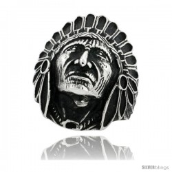 Surgical Steel Biker Ring Indian Chief Head 1 3/16 in wide