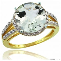 14k Yellow Gold Diamond Green-Amethyst Ring 5.25 ct Round Shape 11 mm, 1/2 in wide