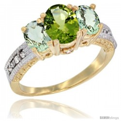 14k Yellow Gold Ladies Oval Natural Peridot 3-Stone Ring with Green Amethyst Sides Diamond Accent