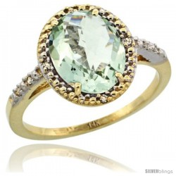 14k Yellow Gold Diamond Green-Amethyst Ring 2.4 ct Oval Stone 10x8 mm, 1/2 in wide -Style Cy402111