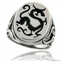 Surgical Steel Biker Ring Chinese Dragon 7/8 in wide