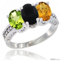 14K White Gold Natural Peridot, Black Onyx & Whisky Quartz Ring 3-Stone Oval 7x5 mm Diamond Accent