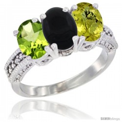 14K White Gold Natural Peridot, Black Onyx & Lemon Quartz Ring 3-Stone Oval 7x5 mm Diamond Accent
