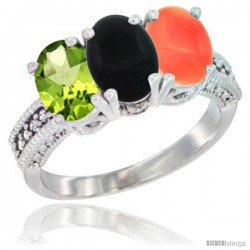 14K White Gold Natural Peridot, Black Onyx & Coral Ring 3-Stone Oval 7x5 mm Diamond Accent