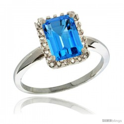 Sterling Silver Diamond Natural Swiss Blue Topaz Ring 1.6 ct Emerald Shape 8x6 mm, 1/2 in wide