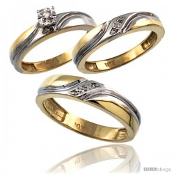 10k Gold 3-Pc. Trio His (5mm) & Hers (4mm) Diamond Wedding Ring Band Set, w/ 0.062 Carat Brilliant Cut Diamonds