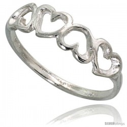 Sterling Silver Teeny Hearts Ring 3/16 in wide