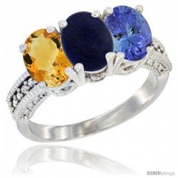 14K White Gold Natural Citrine, Lapis & Tanzanite Ring 3-Stone 7x5 mm Oval Diamond Accent