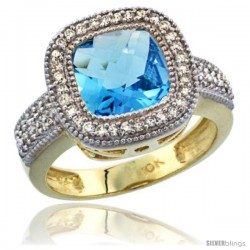 10K Yellow Gold Natural Swiss Blue Topaz Ring Cushion-cut 9x9 Stone Diamond Accent