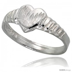 Sterling Silver Heart Ring Polished finish 1/4 in wide -Style Ffr454