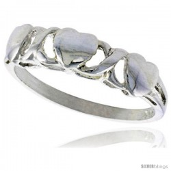 Sterling Silver Heart XO Style Hugs & Kisses Ring Polished finish 3/16 in wide -Style Ffr456