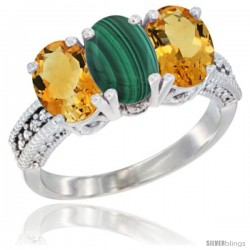 14K White Gold Natural Malachite & Citrine Sides Ring 3-Stone 7x5 mm Oval Diamond Accent