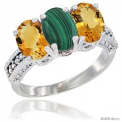 14K White Gold Natural Malachite & Citrine Sides Ring 3-Stone 7x5 mm Oval Diamond Accent