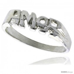 Sterling Silver AMOR Ring Polished finish 3/16 in wide