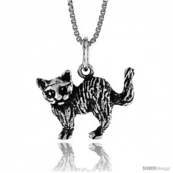 Sterling Silver Small Cat Pendant, 1/2 in