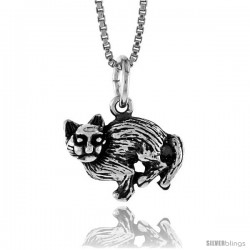 Sterling Silver Small Cat Pendant, 1/2 in -Style 4p497