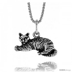 Sterling Silver Small Cat Pendant, 3/8 in -Style 4p498