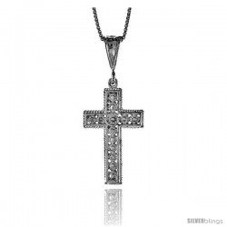 Sterling Silver Cross Pendant, 1 1/4 in -Style 4p50
