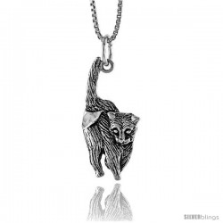 Sterling Silver Cat Pendant, 1 1/16 in