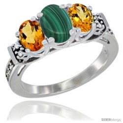 14K White Gold Natural Malachite & Citrine Ring 3-Stone Oval with Diamond Accent