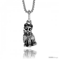 Sterling Silver Small Cat Pendant, 1/2 in Tall -Style 4p505