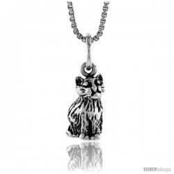 Sterling Silver Small Cat Pendant, 1/2 in Tall -Style 4p506