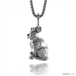 Sterling Silver Small Cat Pendant, 1/2 in Tall -Style 4p507