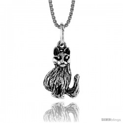 Sterling Silver Small Cat Pendant, 1/2 in Tall -Style 4p508